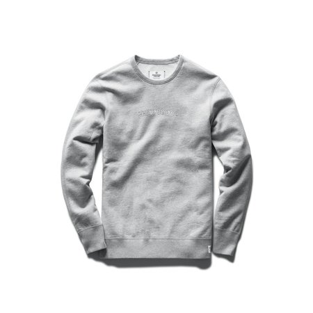 Reigning Champ Lightweight Terry Embroidered Crewneck - Heather Grey