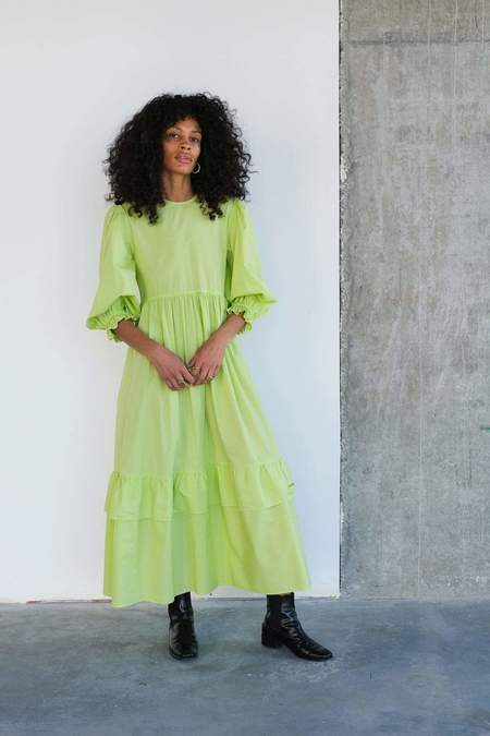 Toit Volant Muumuu Tier Ruffle Dress - Starfruit Lime