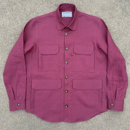 Tony Shirtmakers Nantucket Linen Chore Shacket - Raspberry