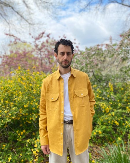 Tony Shirtmakers Lichen Linen Shacket - Sunburst
