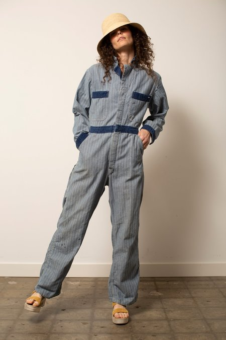 Vintage Herringbone Stripe Coverall jumpsuit - grey