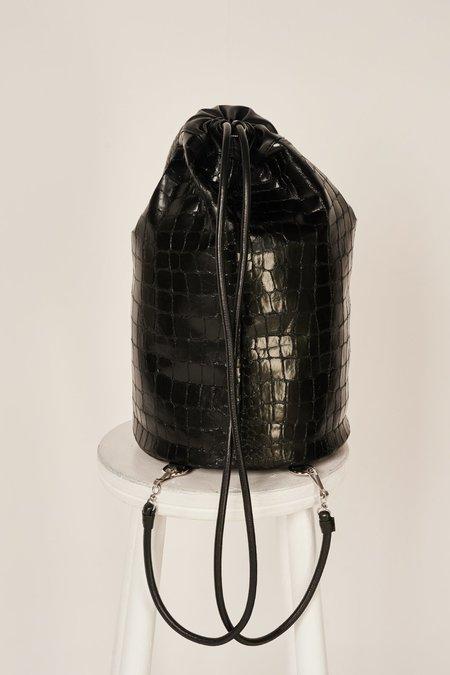 MM6 Maison Margiela Crocodile-effect Bucket Bag - Black