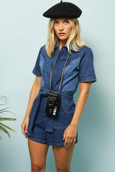 STONED IMMACULATE JEAN BABY DENIM ROMPER - BLUE