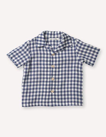 Kids Petits Vilains Adrien Aloha Shirt - Navy Gingham