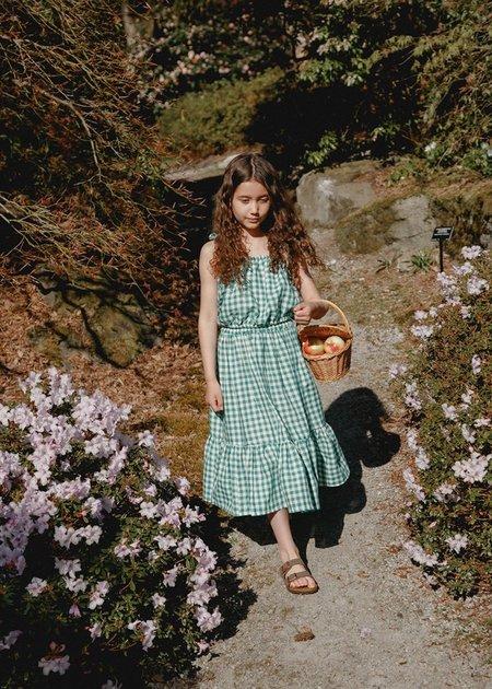 Kids Petits Vilains Colette Prairie Skirt - Green Gingham