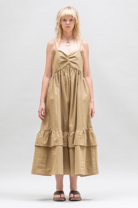 Toit Volant Cotton Dobby Bandeau Tier Ruffle Dress - Caramel Toffee