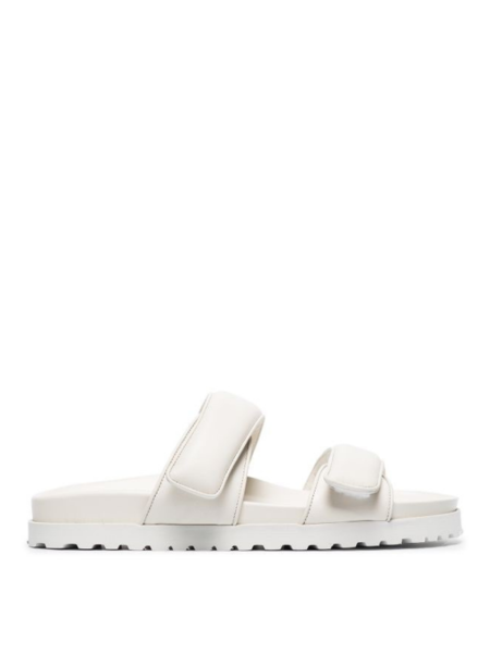 Gia Couture x Pernille Padded Leather Platform Slide Sandals - white