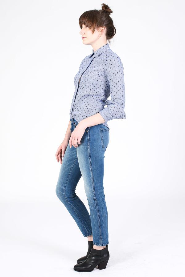 Vert & Vogue Button down shirt in blue floral