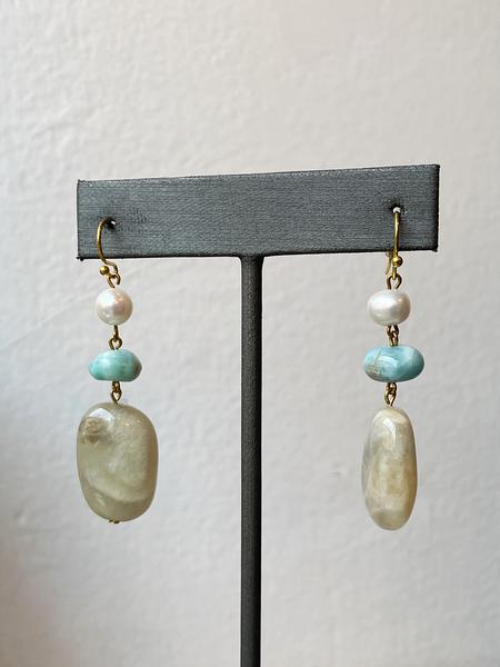 Sandy Hyun Stone and Pearl Drop Earrings