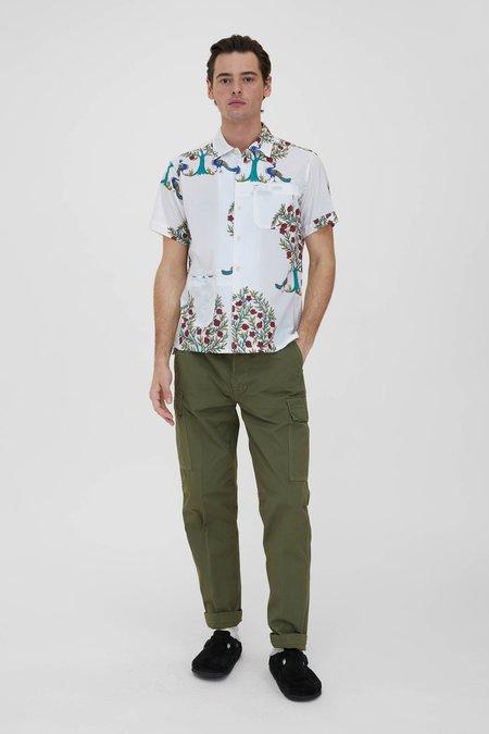 Engineered Garments Cotton Lawn  Camp Shirt - Natural/Peacock Print