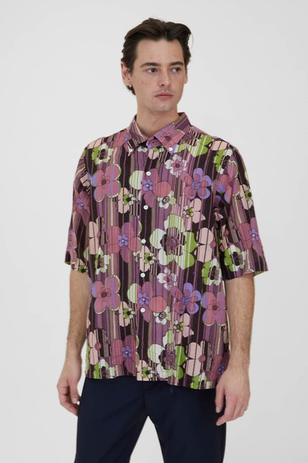 Side Pocket BD Indian Retro Flower Print Shirt - Wine
