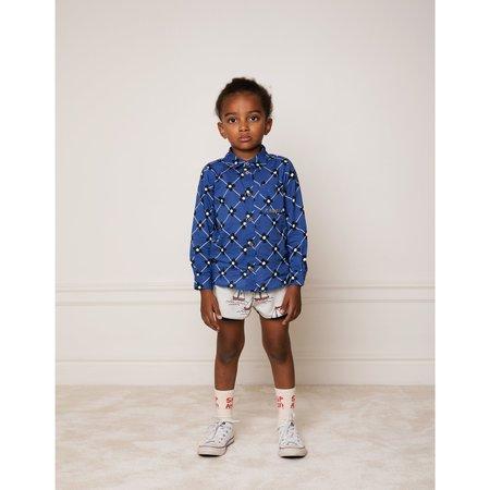 Kids mini rodini flower check woven shirt - blue