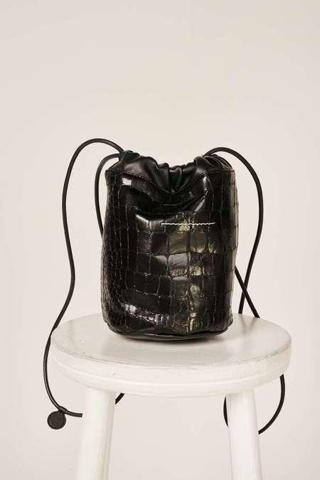 MM6 Maison Margiela Crocodile-effect small bucket bag - Black