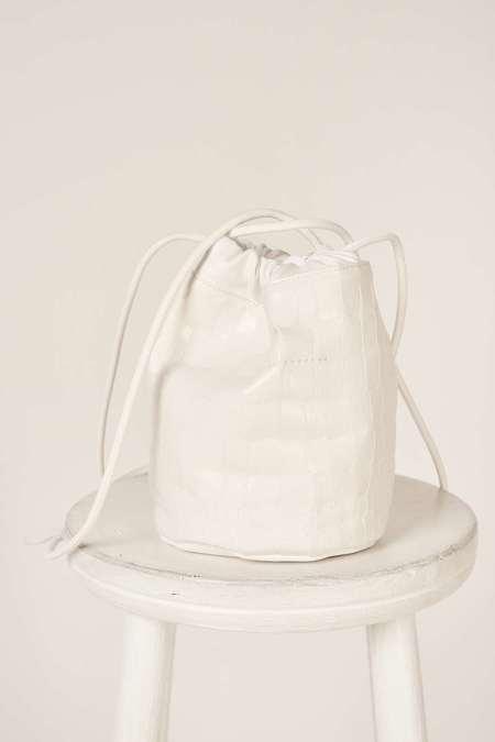 MM6 Maison Margiela Crocodile-effect small bucket bag - White