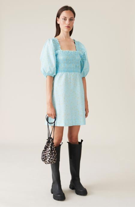 Ganni Corydalis Poplin Mini Dress - Blue Floral