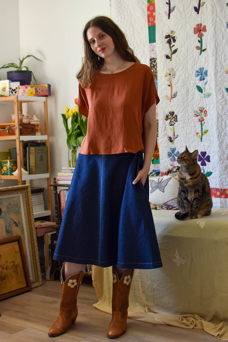 Amanda Moss Breezy Crop top - Terracotta