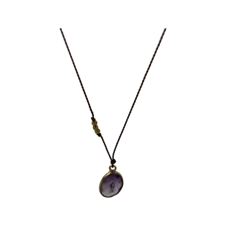 Margaret Solow Necklace - Amethyst/Brass