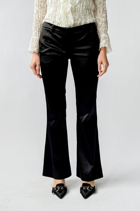 Vintage Satin Low Rise Flare Pants - black