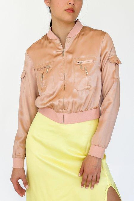Vintage Satin Silk Cropped Jacket - Blush