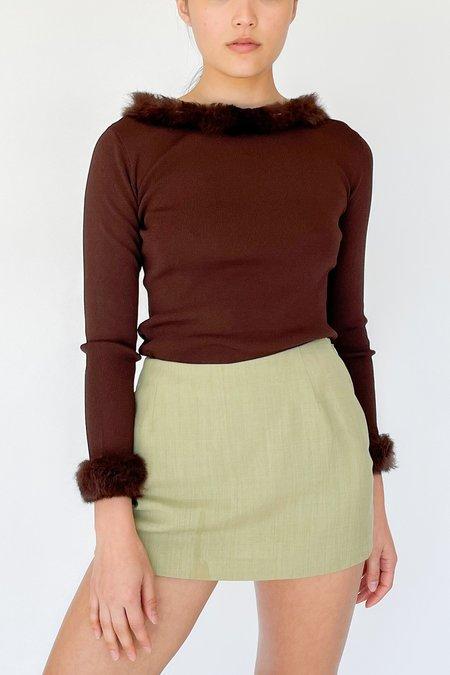 Vintage Knit Marabou Shirt - Brown