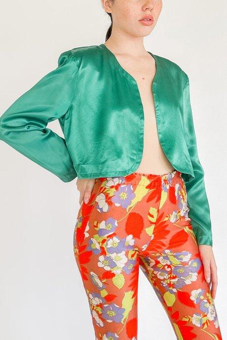Vintage Satin Cropped Open Jacket - Emerald