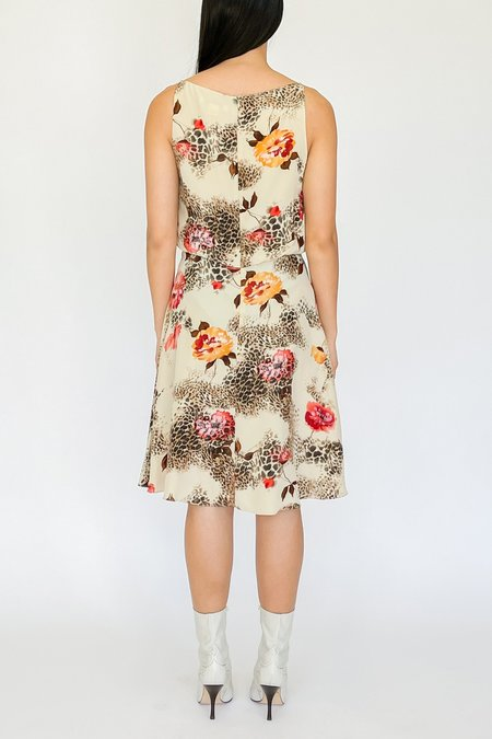 Vintage Silk Chiffon Layered Dress - Floral Collage Print