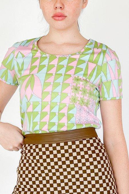 Vintage Shirt - Flower Geometric Print