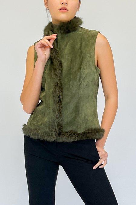 Vintage Suede Fur Vest - Forest