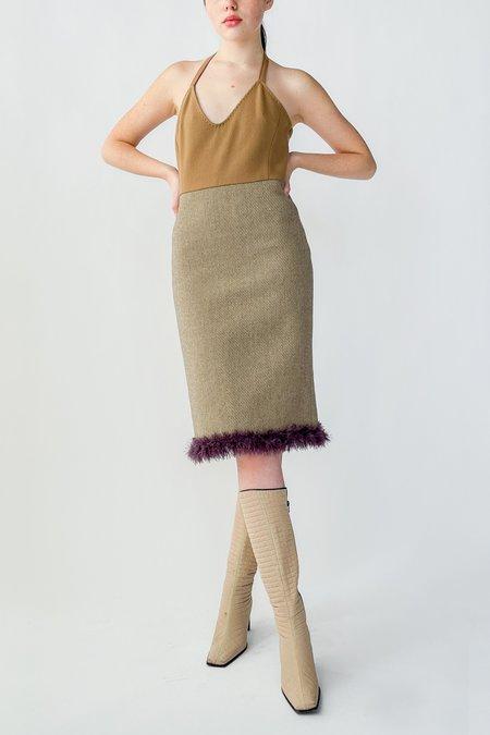Vintage Miu Miu Wool Halter Dress - Camel