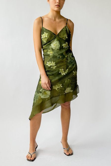 Vintage Asymmetrical Dress - Moss Flower Print