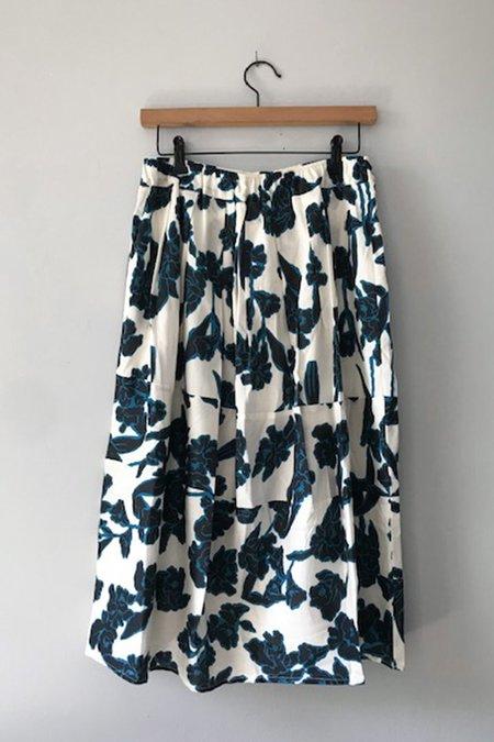 GUT Echappees Belles Tiered Skirt - Ink Blue Floral