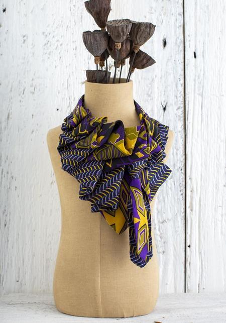 Lilian Asterfield Katherine Silk Ascot - Purple/Mustard