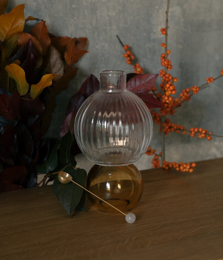 Natalia Criado Crystal Flower Vase - amber