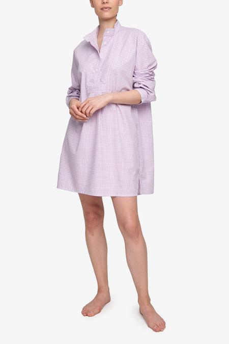 The Sleep Shirt Gingham Dot Short Sleep Shirt - Lilac