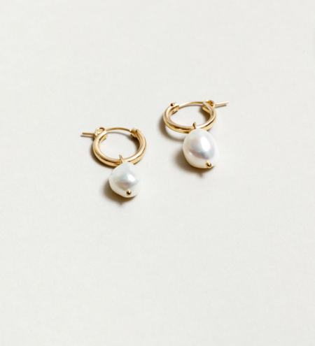 Wolf Circus Small Pearl Hoops - Gold