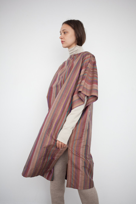 Electric Feathers Convertible Rectangle Kaftan in Silk Stripe