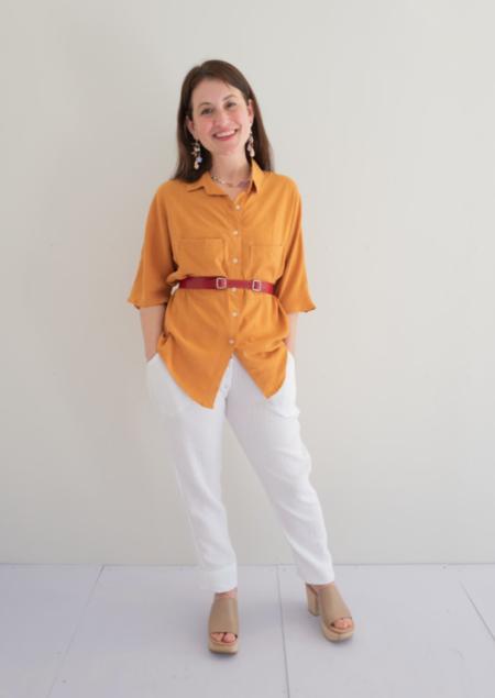 Natalie Busby Boxy Button Up shirt - Saffron