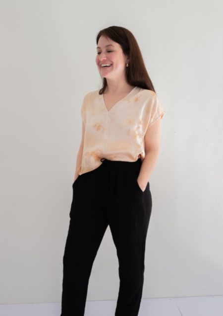 Natalie Busby Dyed Box Top - Peach