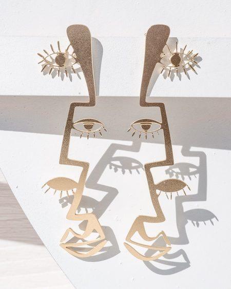 Fool's Gold Peillon Earrings - Brass