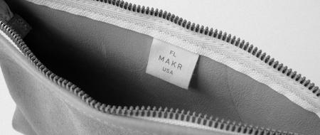 unisex MAKR Organizer Pouch bag - Stone Horween® Suede