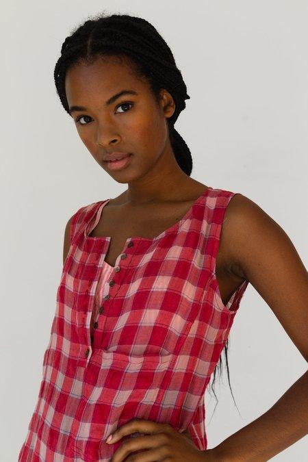 Caron Callahan Myrtle Dress - Red Gauze Plaid