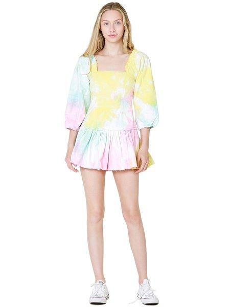 LoveShackFancy Chai Mini Dress - Rainbow Radial Tie Dye