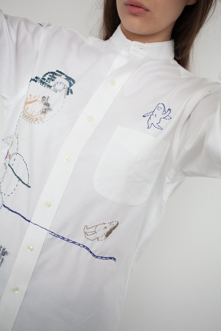 Camilla Engstrom Hus Hus White Cotton Embroidered Shirt with Mandarin Collar