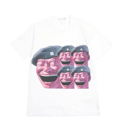 Comme Des Garcons Yue Minjun Short Sleeve T-shirt - White/Print E