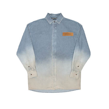 PALM ANGELS Bleached denim shirt - Blue