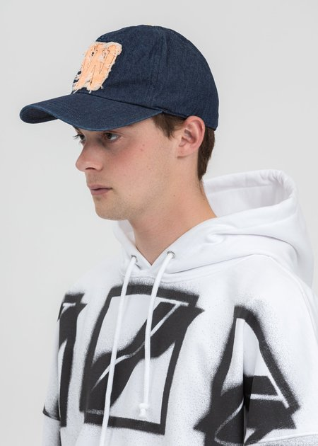 we11done Neon Patch Embroidered Cap - Indigo Blue