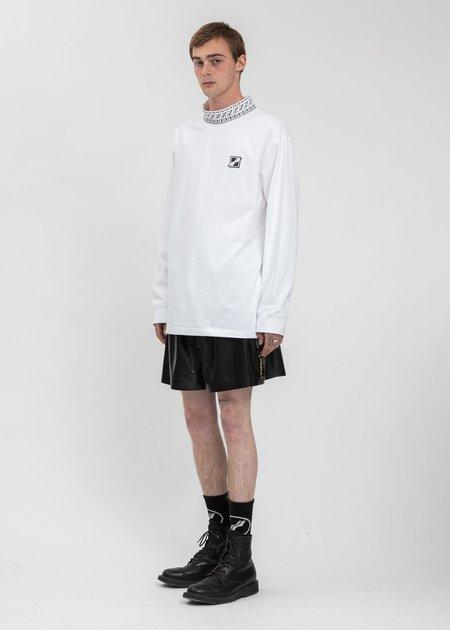we11done High Neck Logo Long Sleeves - White