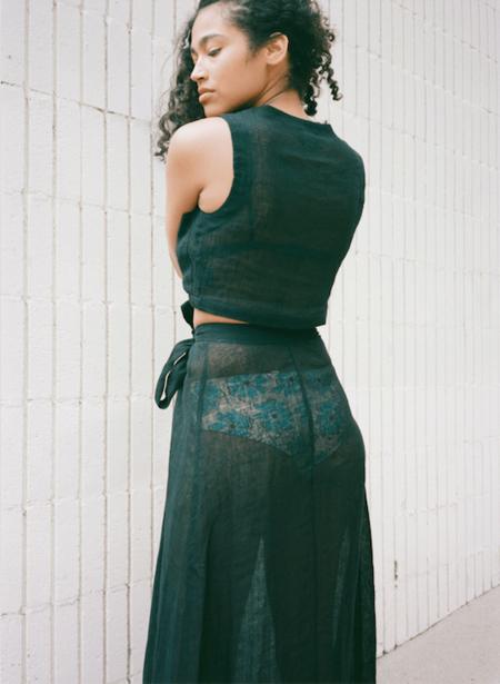 Le Kasha Akko Linen Top - Black