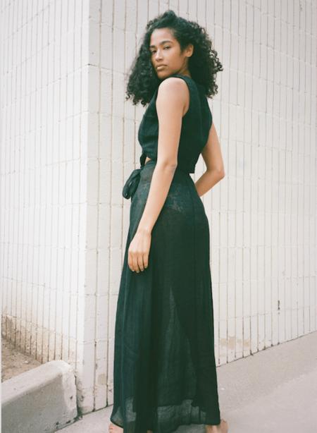Le Kasha Muscat Linen Skirt - Black