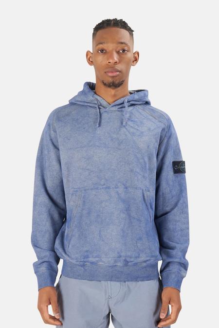 Stone Island Dust Treatment Hoodie Sweater - Melange Air Force Blue